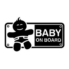 16*9.1CM Funny Vinyl Car Body Decal BABY ON BOARD Safety Sign Car Sticker Accessories Black/Silver C9-2340