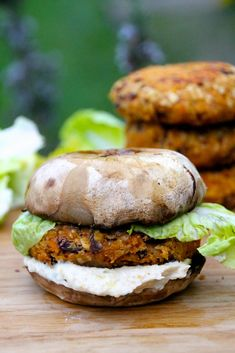 Naturally Sassy | Cheesy Red Lentil Burgers with a Portobello Bun - Recipe