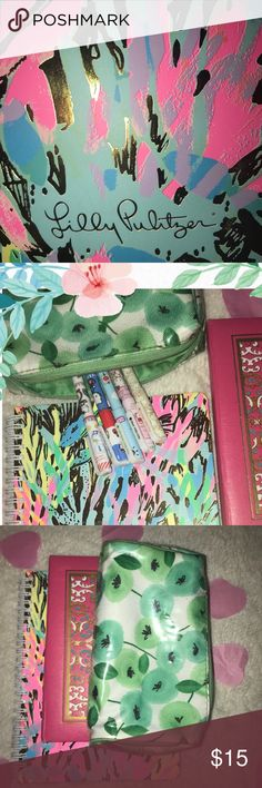 🌸Lilly Pulitzer Stationary Bundle!🌸 ✨💕🌸Never used Lilly Pulitzer journal in beautiful Sparkling Sands gold foiled print! Wire bound, college ruled with decorative interior pocket for easy to access papers. Comes with floral pencil case with 5 multicolored Hello Kitty gel ink pens (.5mm) & a vintage pink leather bound address book with assorting tabs! Any questions let me know! 🌸💕✨ Lilly Pulitzer Accessories