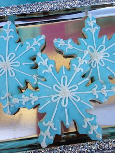 Snowflake cookies at a Frozen Movie Night Party!  See more party ideas at CatchMyParty.com!