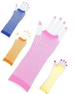 Amazon.com: New Pink 80s Punk Rock Fishnet Fingerless Long Gloves: Clothing