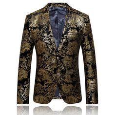 Men Blazer suit 2017 Luxury Designer Colorful Mens suits Blazer Jacket Stylish Fancy Suit Jacket Brand Prom suits Blazers golden