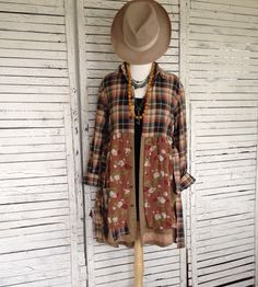 Flannel & Floral Top S/M, Prairie Chic, Upcycled Clothing, Tunic Length Top or Dress, Jacket, Romantic Clothing by AnikaDesigns on Etsy https://www.etsy.com/listing/475808112/flannel-floral-top-sm-prairie-chic
