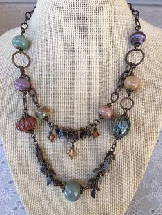 Rustic Necklace Two Strand Handmade Ceramic Beads Leaf