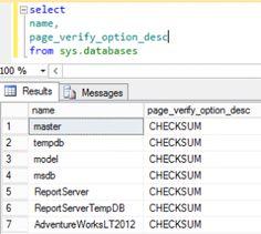 T-SQL Find Database Page Verify Option