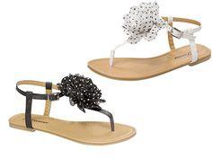 Women Fashion T-Strap Flower Design Sandals Flat Shoes Black White Red Orange sz | eBay