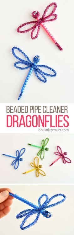 These beaded pipe cleaner dragonflies are SO CUTE! All you need are pipe cleaners, plastic pony beads and googly eyes and you can whip one up in less than 5 minutes! This is such a fun kids craft that they can actually play wi Spring Art Projects, Toddler Art Projects, Easy Art Projects, Spring Crafts, Projects For Kids, Mason Jar Crafts, Mason Jar Diy, Craft Activities, Preschool Crafts