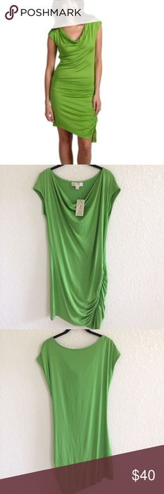 NWT MK Green Jersey Knit Cowl Neck Ruched Dress - Michael Kors - Jungle Green Stretchy Dress - Spandex blend - Effortlessly chic, a style staple for your basic wardrobe, casual chic. Summer Essential. - No Trades. Michael Kors Dresses Midi
