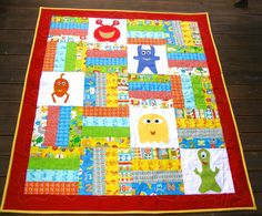 Monster Quilt in bright modern colours Baby by BlackTulipQuilts, $175.00