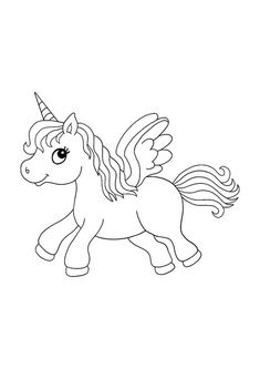 Winged unicorn coloring page Emoji Coloring Pages, Birthday Coloring Pages, Mermaid Coloring Pages, Cool Coloring Pages, Mandala Coloring Pages, Free Printable Coloring Sheets, Coloring Sheets For Kids, Unicorn Wings, Unicorn Cat