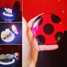 My Ladybug 'yo-yo'! It's actually a compact mirror with an LED borser around the bottom mirror. I drew on the black dots with a sharpie after wiping the shiny surface with nail polish remover. It keeps the shine but it allows the ink to grip with ease. The butterfly is actually two stuck together and I bought them off of Etsy (they're used to decorate LEDs). #miraculousladybugcosplay #miraculousladybug #cosplay #cosplayprogress #cosplayprop