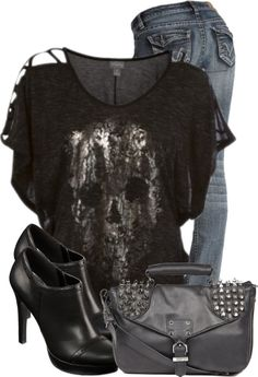 "WHY IS EVERY TOP I WANT, SOLD OUT?!  (""Skull Top"" by Denise-Schmeltzer on Polyvore)"