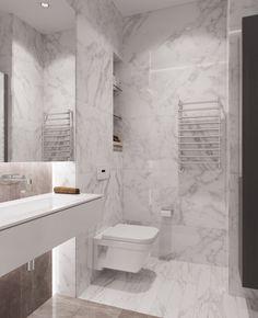 Квартира_Ди 76 м2 Дизайн: Волкова Арина, on Behance Attic Bathroom, White Bathroom, Bathrooms, Architectural Design House Plans, Bathroom Interior Design, Brick Wall, Interior And Exterior, Toilet, Minimalism