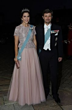 Princess Mary and Prince Frederik of Denmark arriving at a State Dinner hosted by the Queen and Prince Consort for the Oresudent and First Lady of Vietnam at Fredensborg Palace