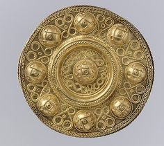 Disk Brooch Date: ca. 600 Culture: Langobardic Medium: Gold, Worked in repoussé with twisted wire and filigree