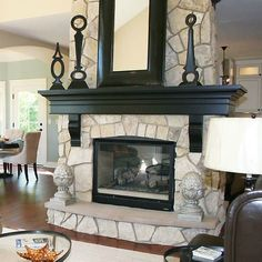 i love everything from the step on the hearth to the black mantel with korbels - Black Fireplace Mantels