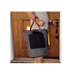 Waxed canvas Weekender tote bag   charcoal by CuttingEdgeQuilting