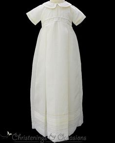 Baby boys traditional ivory christening baptism gown