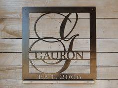15 square monogram established date wedding gift family sign monogram wreath door decor metal letter last name decor ds1048