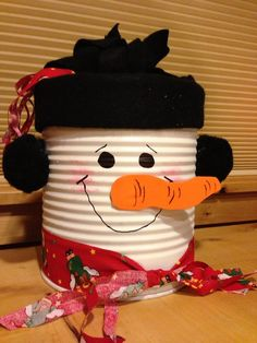 Winter tin made using a large coffee can. Perfect for holiday goodies and gift giving.
