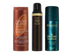 Oscar Blandi Pronto Dry Teasing Dust, $23, sephora.com.  Oribe Grandiose Hair Plumping Mousse, $35, oribe.com.  Kérastase Paris Boucles d'Art Curl Defining Mousse, $36, kerastase-usa.com.