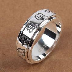Tibetan Buddhism .925 Sterling Silver Om Mani Padme Hum Spin Ring