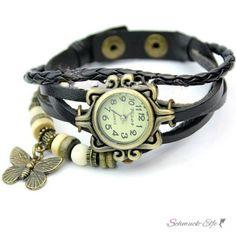Leder Armbanduhr Schmetterling VINTAGE schwarz   im Organza Beutel