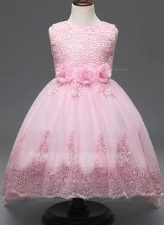 Ball Gown Ankle-length/Sweep Train Flower Girl Dress - Cotton Blends Sleeveless Jewel With Lace/Flower(s) (010087484)