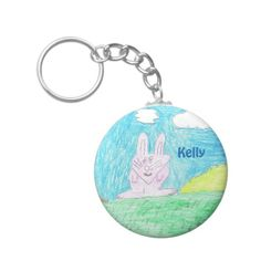 Kid's Art Collection - Bunny Keychain  | Find this design and others on a variety of products. #designedwithtlc #personalizedgifts #customizeit