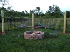 Corner Hammock Around Firepit