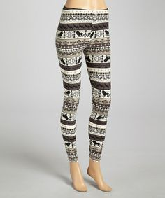 Take a look at this Tan & Gray Lion Kingdom Leggings on @zulily today!
