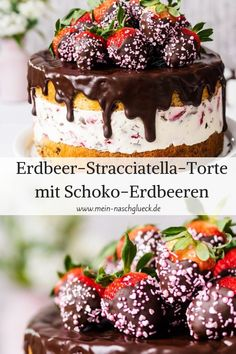 Erdbeer-Stracciatella-Torte mit Schoko-Erdbeeren Here's a simple recipe for a strawberry cake with stracciatella and strawberry filling and juicy chocolate chip trays Strawberry stracciatella GateStrawberry stracciatella GateDelicious lemon creme gate Cake Recipes Without Oven, Cake Recipes From Scratch, Easy Cake Recipes, Easy Desserts, Dessert Recipes, Drip Cakes, Fruit Birthday Cake, Birthday Pies, Easy Vanilla Cake Recipe