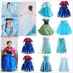 Kids Girls Dresses Disney Elsa Frozen dress costume Princess Anna party dresses #new #Disney #Casual