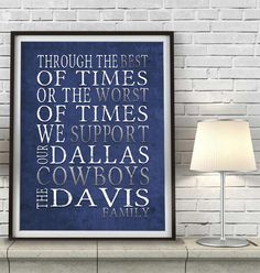 """Dallas Cowboys Personalized Customized Art Print- """"Best of Times"""" Parody- Charles Dickens-  Unframed Print"""