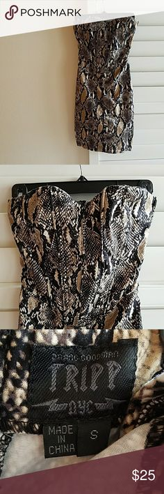 Karma Loop Snake Print Dress Fits XS - S. Strapless and has boning at the bust for structure.  Side Zipper. Excellent condition. Karma Loop Dresses