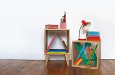 For her 2013 collection, Elsa Randé has designed a series of furniture sewn with a myriad of colorful Scoubidou threads that put the wooden pieces together. Design Furniture, Unique Furniture, Furniture Inspiration, Design Inspiration, Cubes, Muuto, Paris Design, Studio Interior, Elsa