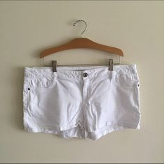 "[city streets] white denim shorts Super cute white shorts. Perfect for summer. Size 15, juniors. They are a 3"" inseam and measure 19"" across the waist, laying flat. In great condition! City Streets Shorts"