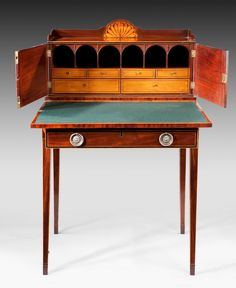 """ANTIQUE GEORGE III BONHEUR DU JOUR 115,5 x 73,7 x 56,5, £7800. A similar interior is shown in a secretary stamped Gillows in Margaret Jourdain's """"Georgian Cabinet Makers""""."""