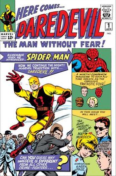 "stan lee on Twitter: ""Fantastic flashback to Apr 1964 when we met Daredevil. What ""suits"" him best original yellow & brown or classic red?"" https://stanleebox.com/"