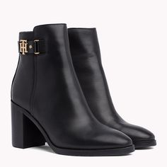 Image for Monogram Embellishment Block Heel Boots from TommySK Block Heel Boots, Block Heels, Shoe Boots, Ankle Boots, Dream Shoes, Luxury Shoes, Tommy Hilfiger, Fashion Handbags, Combat Boots