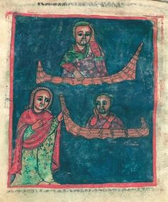 """Miracle 6: """"How the monk was overtaken [by a storm on the lake]"""" and """"how our holy mother Walatta Petros saved him and returned him [to shore] from amid the lake""""."""