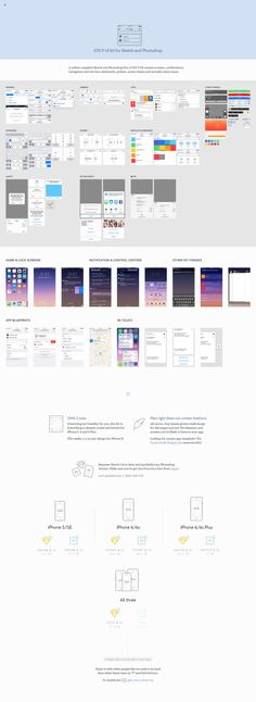 iOS 9 UI kit for Sketch and Photoshop  A rather complete Sketch and Photoshop kits of iOS 9 UI: system screens, notifications, navigation and tab bars, keyboards, pickers, action sheets and actually many more.
