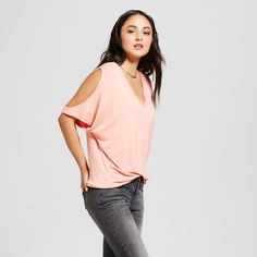 Alison Andrews Women's V-Neck Cold Shoulder Flutter Sleeve Top - Desert Flower XL, Pink