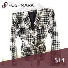 Plaid tailored blazer Black and white plaid, fitted blazer, with matching belt. Lined Jackets & Coats Blazers