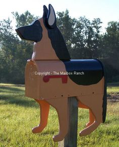 Unique Handmade German Shepherd Dog Mailbox..... WANT!