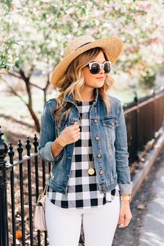 Gingham outfit and denim jacket