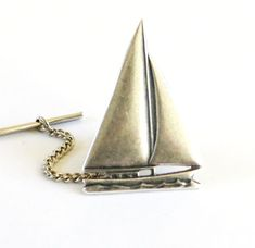 Sailboat Tie Tack Sterling Silver Finish