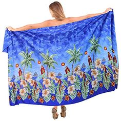 Sarong Swimsuit Swimwear Bathing Suit Beach Cover up Print Pareo wrap Royal Blue Free Size One Size Spring Summer 2017 >>> Continue to the product at the image link.  This link participates in Amazon Service LLC Associates Program, a program designed to let participant earn advertising fees by advertising and linking to Amazon.com.