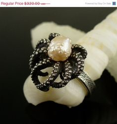 PRE THANKSGIVING SALE Size 8 RoseBud Pearl Octopus Ring, tentacle ring, Sterling Silver Octopus Ring