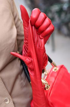 One glove off, red leather glove Red Gloves, Long Gloves, Red Leather Pants, Leather Gloves, Valentino, Blazers, Gloves Fashion, Fetish Fashion, Leather Accessories